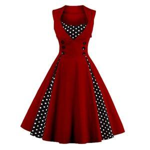 Dresses & Skirts - Retro Buttons & Polka Dot Sleeveless Dress